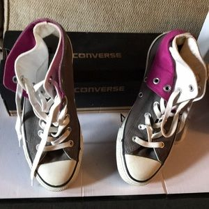 Pink white and gray converse